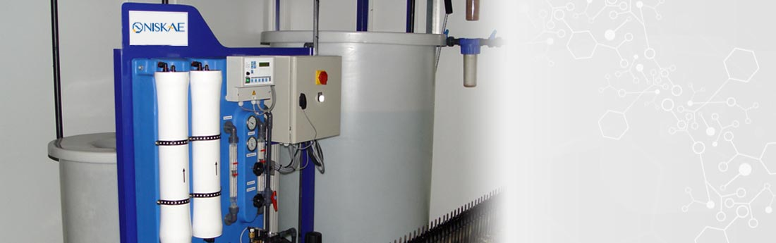 NISKAE designs sets of softener and reverse osmosis systems for process water treatment. The capacity of the industrial osmosis systems varies between 5L/H and 5000L/H